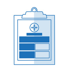 blue silhouette shading table notepad medical with vector image