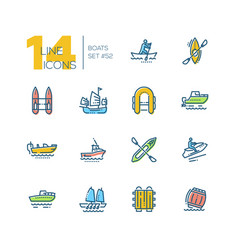 boats - colorful thin line design icons set vector image
