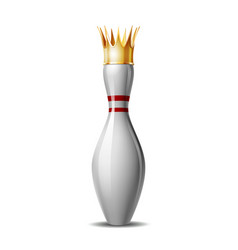 bowling pin with royal crown isolated on a white vector image