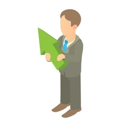 Business man holding with green arrow up icon vector image
