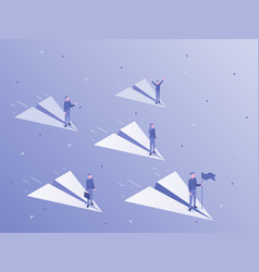 businessman flying on paper airplane business vector image