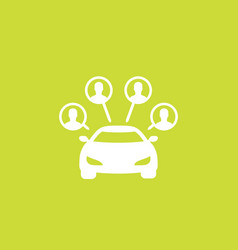 Carsharing service icon car and passengers vector