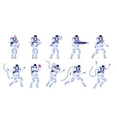 Cartoon astronaut flat astronauts group vector