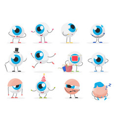 Cartoon cute funny eye ball emoticon character vector