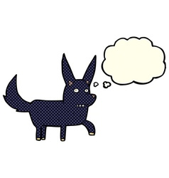 Cartoon wild dog with thought bubble vector