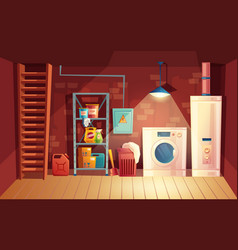 Cellar interior cartoon laundry vector