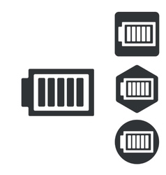 Charged battery icon set monochrome vector