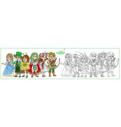 children in carnival costumes princess robin hood vector image