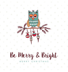Christmas decoration bauble cute owl cartoon card vector