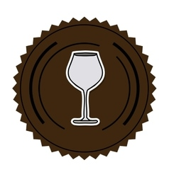 Color round frame with glass of champagne sour vector