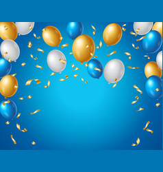 Colored blue white and gold balloons and golden vector
