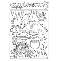 Coloring book dragon and treasure chest vector