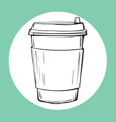 cup of hot drink sketch icon vector image