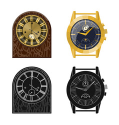 Design of clock and time logo set of clock vector