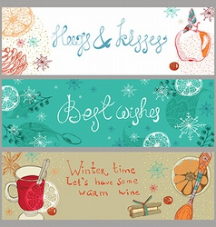 Doodle background with mulled warm wine and fruits vector
