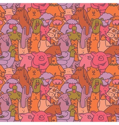 Doodle farm animals seamless pattern vector