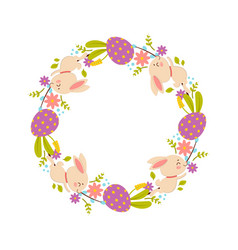 easter wreath of flowers eggs and rabbits vector image