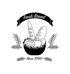 Emblem fresh bread bakery with ribbon vector