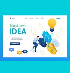Entrepreneur develops a business idea 3d isometric vector