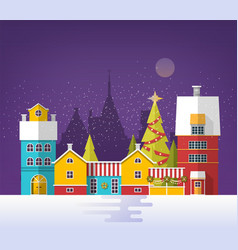 evening winter urban landscape with old city town vector image