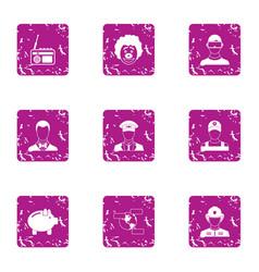 executive icons set grunge style vector image
