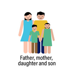 father mother daughter and son icon can be used vector image