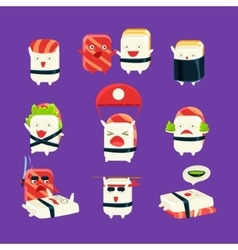 Funny Sushi Man Different Activities Set vector