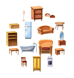 furniture and household appliances icons set vector image