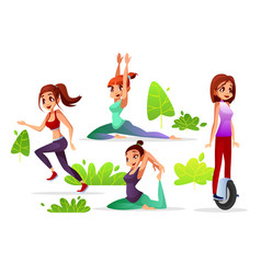 girl woman leisure in park vector image