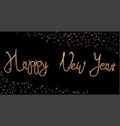Gold bright happy new year brush lettering text vector