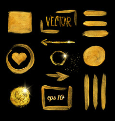 gold paint brush stroke and stain set vector image