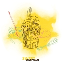 Hand drawn with ice Cream vector image