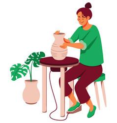 Handmade pottery vase vector