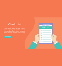 hands with clipboard check list landing page vector image
