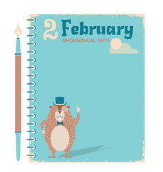 happy groundhog day notebook background with vector image