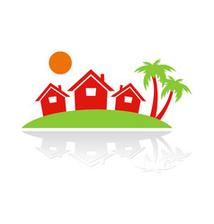 holiday beach cottage business logo vector image