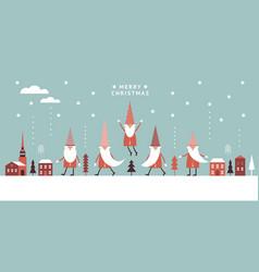 horizontal banner christmas card seasons greetin vector image