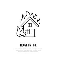 House on fire flat line sign for insurance service vector