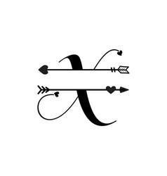 Initial x love monogram split letter isolated vector