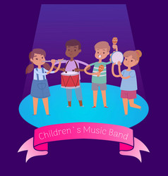 kids music band playing and rocking at spot light vector image
