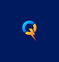 Letter q flash electrical logo design vector