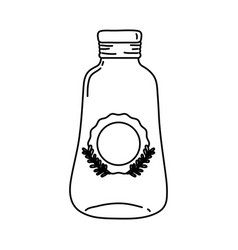 Line long mason jar with sticker and braches style vector