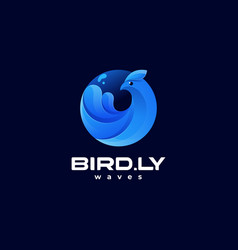 logo bird wave dual meaning style vector image