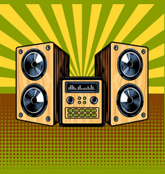 Loudspeaker enclosure comic book style vector