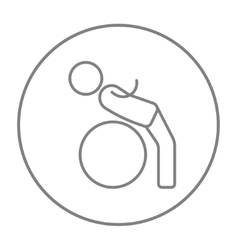 Man doing exercises lying on gym ball line icon vector
