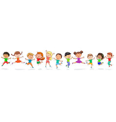 many cute happy kids are jumping vector image