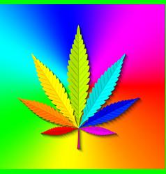marijuana hemp leaf on colorful radial gradient vector image
