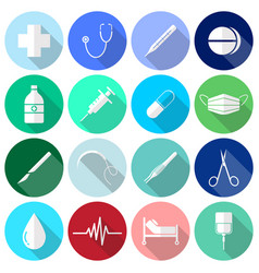 medical icons white long shadow vector image