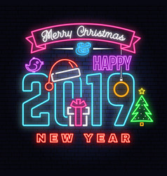 merry christmas and 2019 happy new year neon sign vector image