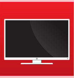 Mock up monitor on red background with copy space vector